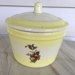 Vintage Canister With Lid Cheerful Yellow & Floral